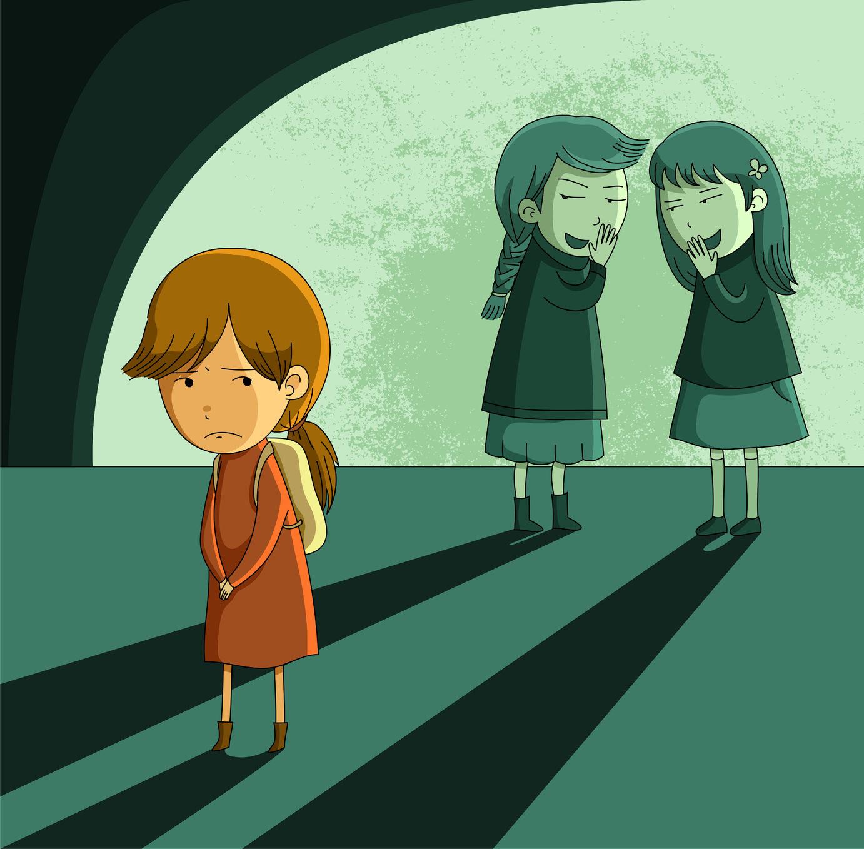 Teen girl being bullied (cartoon)